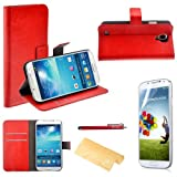 Foxnovo 4-in-1 Crazy Horse Pattern PU Wallet Card Holder Flip Case Cover Stand Set for Samsung Galaxy S4 /i9500 (Red)