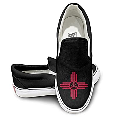 PTCY Flag Newmexi University Logo Athletic Unisex Flat Canvas Shoes Sneaker Black