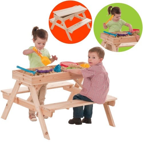 Dominoes Children's Wooden Picnic Table and Sandpit (Includes Table Top/Cover)