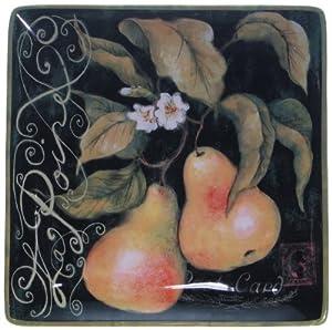 Certified International Parisian Fruit Square Platter, 12-1/2-Inch