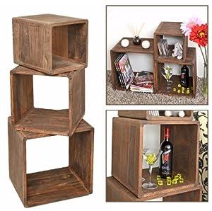 Ts ideen set 3 scaffali a cubo in legno massiccio in for Cubi in legno arredamento