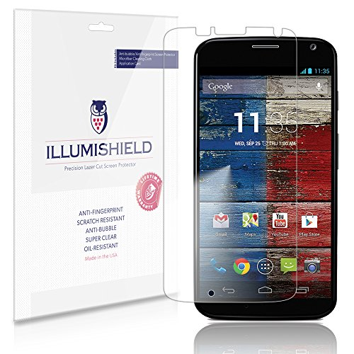 Illumishield - Motorola Moto X Screen Protector Japanese Ultra Clear Hd Film With Anti-Bubble And Anti-Fingerprint - High Quality (Invisible) Lcd Shield - Lifetime Replacement Warranty - [3-Pack] Oem / Retail Packaging