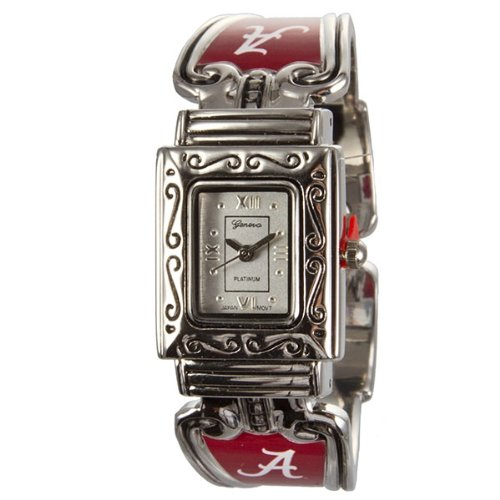Alabama Crimson Tide Silver Tone Cuff Band Watch With Bas Relief Details Around The Face.