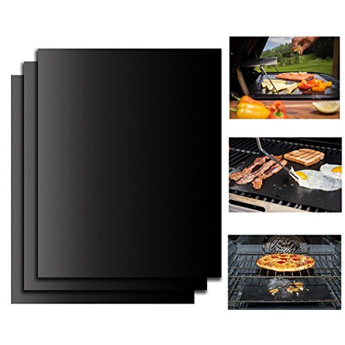 DISDA Non-Stick BBQCookingGrillMat Healthy Grade Eco-friendly Cooking Baking Mats Pad,Applicable to Charcoal Barbecue,Gas,Ovens,Electric grills - Size 40CMx33CMx0.20mm (3 Pack) (Bbq Manifesto compare prices)