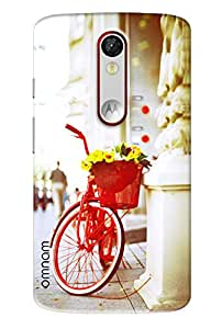 Omnam Red Cycle Stand In A Paris Street Designer Back Cover Case for Motorola Moto X Force