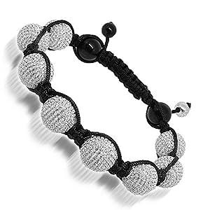 Black Onyx Ball Bead Bracelet with White Swarovski Crystals