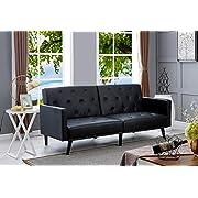 Naomi Home Convertible Tufted Futon Sofa Black/Faux Leather