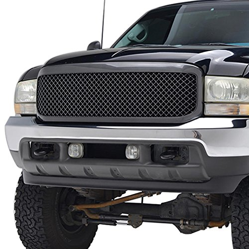 E-Autogrilles 99-04 Ford F-250/F-350/F-450 Super Duty Black Carbon Fiber Look ABS Replacement Mesh Grille Grill with Shell (41-0105CF) (2004 Ford F350 Grill compare prices)