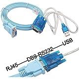 Cisco Router Cisco console cable RJ-45 DB-9 シリアルケーブル 72-3383-01 (RJ45-DB9) & USB を シリアル コネクタ に 変換 (RS232-USB)