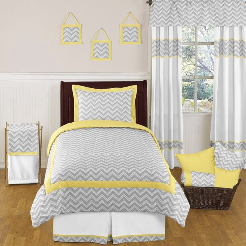 Yellow And Gray Zig Zag Childrens And Kids Bedding 4Pc Twin Set By Sweet Jojo Designs front-226356