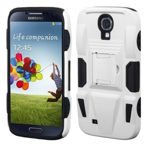 Mybat Asamsivhpcsaas802Np Advanced Rugged Armor Hybrid Combo Case With Kickstand For Samsung Galaxy S4 - Retail Packaging - White/Black