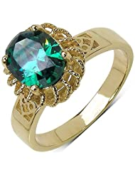 Suraabi 3.00CTW Green Cubic Zirconia 14K Yellow Gold Plated Brass Ring For Women