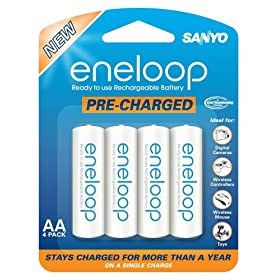 51hiyexQ6ML. SL500 AA280  SANYO eneloop 4 Pack AA NiMH Pre Charged Rechargeable Batteries   $11 Shipped