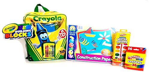 buy Crayola Building Blocks Crayons Water Colors Paint and Construction Paper Bundle for sale
