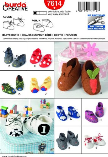 Burda 7614 Baby Bootie / Shoes (10 Styles) ~ Sewing Patterns front-285243