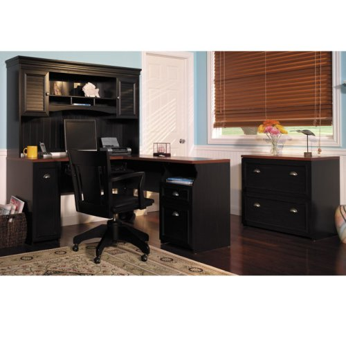 Antique Black and Cherry L-Desk with Lateral File Fairview Collection by Bush Office Furniture - OFG