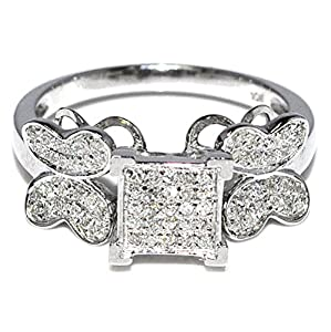 Wedding Ring With Butterfly 10K White Gold 0.3ctw Diamond