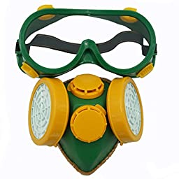 SMARSTAR Dual Cartridge Industrial Gas Chemical Anti-Dust Paint Respirator Mask+Glasses/Goggles Set - Yellow and Green