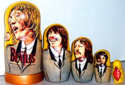 New Set of 5 pcs Beatles 6.69 inch 17 cm Nesting Dolls Authentic Russian Wooden Matryoshka Birthday Gifts Home Decoration