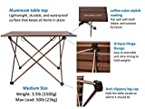 Trekology Camping / Beach Table with Aluminum Table Top - Portable Folding Table in a Bag for Beach, Picnic, Camp, Patio, Fishing, RV, Indoor, Brown Color