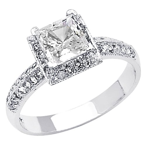 .925 Sterling Silver Princess-cut CZ Cubic Ziconia Solitaire with side-stone Ladies Wedding Engagement Ring Band (Size 5 to 9) - Size 5