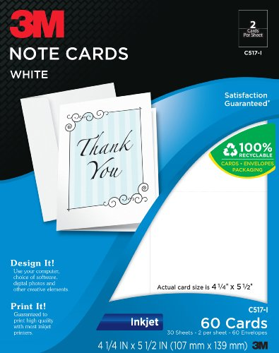 Very greeting cards 3m greeting cards 2 sided printing inkjet 3m greeting cards 2 sided printing inkjet white 5 12 x 4 14 inches 60 cards and envelopes per pack c517 i review m4hsunfo