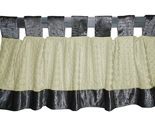 Baby Doll Croco Minky Window Valance, Grey/Beige