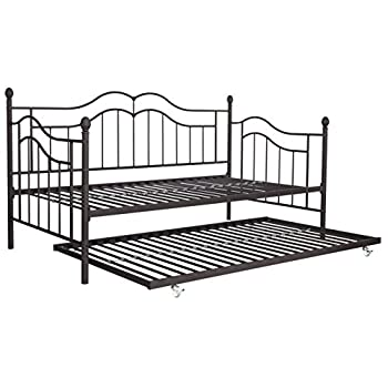 DHP Tokyo Daybed and Trundle with Metal Frame, Twin Size, Brushed Bronze