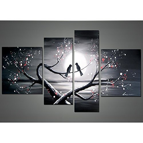Sanbay Art 100% Hand Painted Oil Paintings on Canvas Hot Sale Lover Birds on Cherry Tree Framed Inside 4-pieces Set Artwork for Living Room Kitchen and Home Wall Decoration