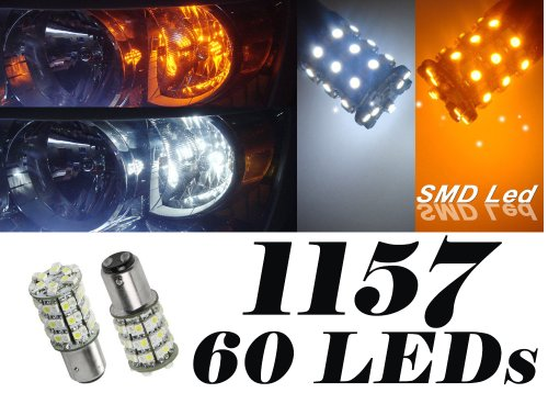 Ig Tuning 60-Smd White/Amber Dual Color 1157 7528 2357 Switchback Led Bulbs For Turn Signal Parking Lights