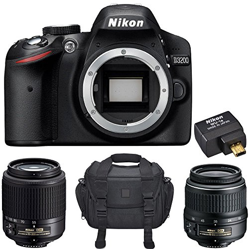 Sale!! Nikon D3200 24.2 MP Digital SLR Camera Bundle with 2 Nikkor Zoom Lens, Mobile Adapter and Car...