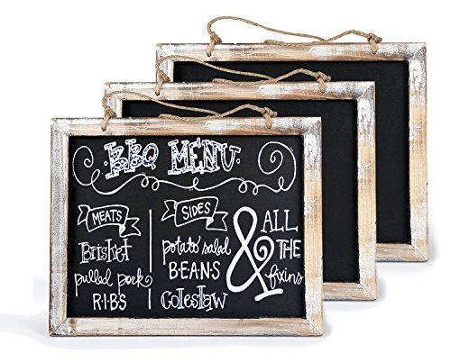 Cade Vintage Framed Kitchen Chalkboard - Decorative Chalk Board for Rustic Wedding Signs, Kitchen Pantry & Wall Decor (3, 8*9.5in)