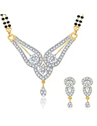 Sukkhi Gleaming CZ Gold And Rhodium Plated Mangalsutra Set For Women - B00EUZ9I54