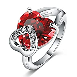 19 Likes Maroon Platinum Plated Ring For Women