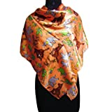 IBA Animal Print Satin Blend Scarf Women Wear Shoulder Light Orange Hijab Wrap SIZE - 40