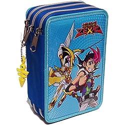 Yu-Gi-Oh Zexal Astuccio 3 zip Azzurro Scuola