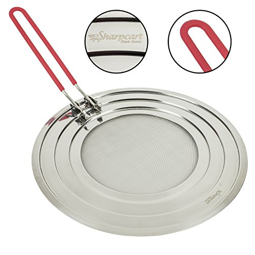 Splatter Screen with Folding Silicone Red Handle - High Quality Stainless Steel - Perfect Cooking Premium Grease Guard - 100% Satisfaction Guarantee (Viking Grease Filter compare prices)