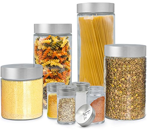Estilo 8 Piece Glass Canisters And Spice Jar Set with Stainless Steel Screw On Lids, Clear (Glass Containers For Pasta compare prices)