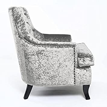 Jamestown Crushed Velvet Silver Armchair