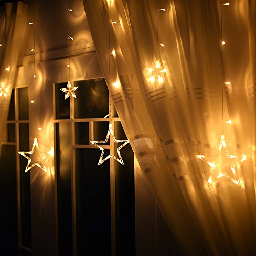 Star Light, Ucharge Fairy Star Curtain Light 12stars 138leds 6.6foot Warm White Window Curtain ...