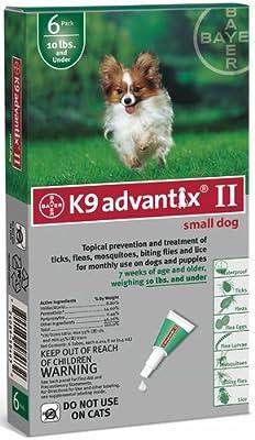 BAYER 004BAY-04458455 K9 Advantix II for Small Dogs 0 - 10 lbs, Green - 4 Months