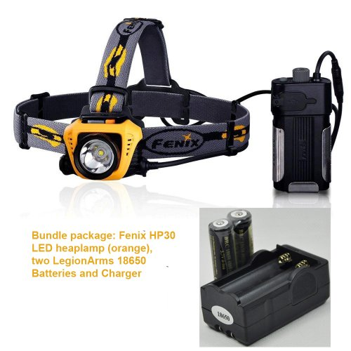 Bundle: Fenix Hp30 900 Lumen Led Headlamp (Orange) Flashlight With Two Legionarms 18650 Rechargeable Batteries And Charger