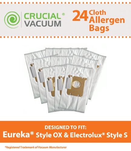 24 Electrolux Harmony Oxygen Style Ox Hepa Style Cloth Allergen Vacuum Bags Fits Models: 6500A, 6991, 6992, 6994, 6996, 6997, 6998, 6999, Compare To Part # 61230, 61230A, 61230B And 61230C, Designed & Engineered By Crucial Vacuum