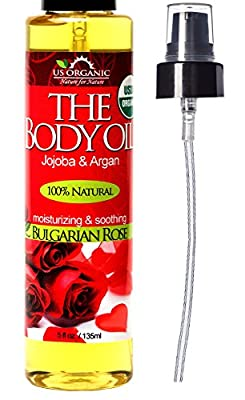 #1 Body & Bath Oil - Romantic Sexy Bulgarian Rose, Certified Organic by USDA, Jojoba & Argan Oil w/ Vitamin E, No Alcohol, Paraben, Artificial Detergents, Color or Synthetic perfumes, 5 Fl.oz.