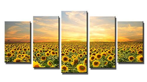 Wieco Art - Canvas Print Giclee Artwork for Wall Decor, Stretched and Framed Art Work, the Sunflowers - 5 Panels Modern Paintings Canvas Wall Art for Home and Office Decoration Landscape Picture Prints on Canvas Art P5RLA007 _f1