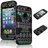 Bastex Heavy Duty Hybrid Case for Apple Iphone 5c - Black Silicone / Hot Pink & Green Aztec Tribal Chevron Hard Shell