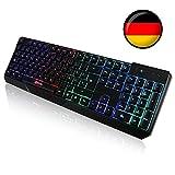 KLIM Chroma Tastatur Gamer QWERTZ DEUTSCHE mit USB-Kabel - Hohe