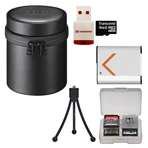 Sony LCS-BBL Carrying Case for DSC-QX100 Camera (Black) with 16GB Card & Reader + Battery + Flex Tripod + Accessory Kit