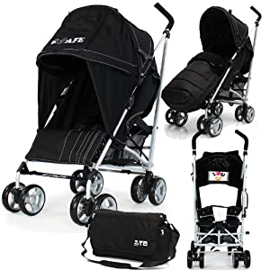 Baby Stroller iSafe Media Viewing Buggy Pushchair - Black Complete With + Deluxe 2in1 footmuff + Changing Bag + Raincover