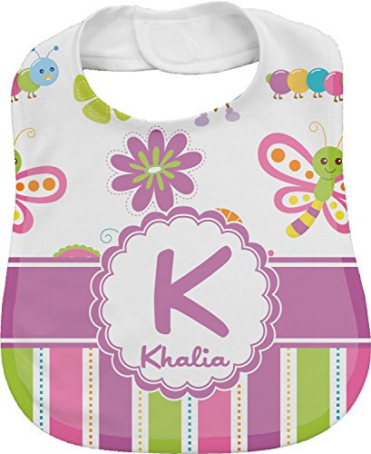 Butterflies & Stripes Personalized Bib front-320681